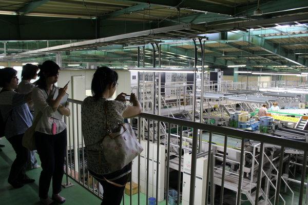 事前の下見で選果場内を見学する参加者