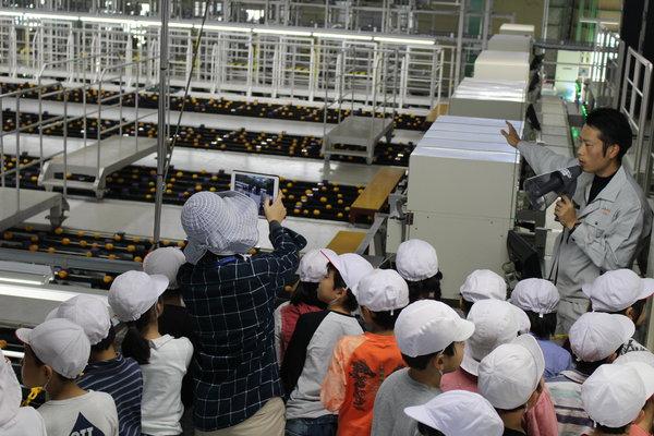 見学する児童に次世代選果機について説明する大木田さん(右)