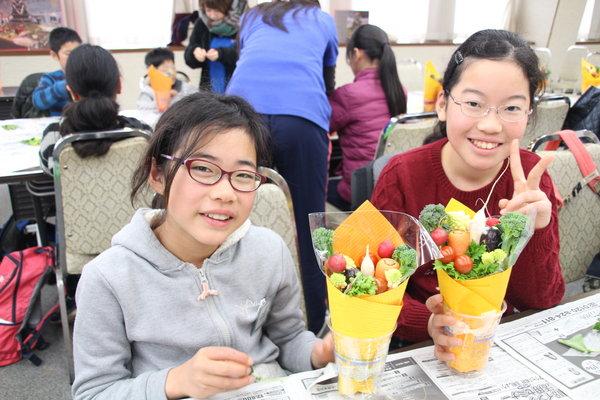可愛い野菜の花束が完成!
